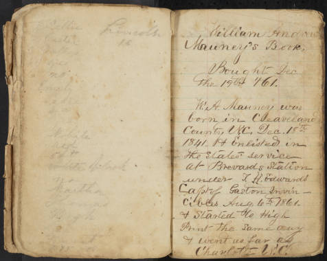 W.A. Mauney Diary page 1
